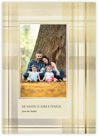 Sparkling Tartan Photo - Cream - Paperless Post - Holiday Cards