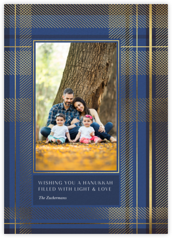 Sparkling Tartan Photo - Blue - Paperless Post - Hanukkah Cards