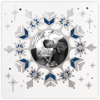 Celestial Snowflake - Blue - Paperless Post - Hanukkah photo cards