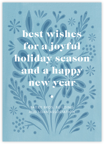 Winter Bouquet - Blue - Paperless Post - Company holiday cards