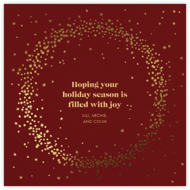 Wreath of Stars - Red - Paperless Post - Holiday Cards