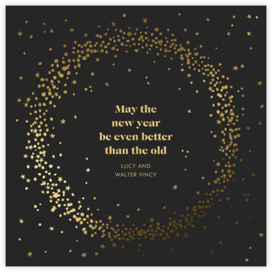 Wreath of Stars - Caviar - Paperless Post - New Year cards