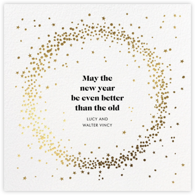 Wreath of Stars - White - Paperless Post - New Year Cards