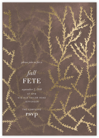 Woodcut - Walnut - Kelly Wearstler - Autumn entertaining invitations