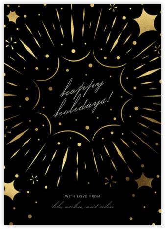 Bursting with Joy - Black - Paperless Post - Holiday Cards