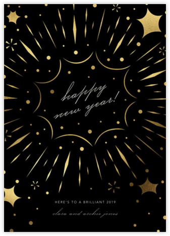 Bursting with Joy (New Year's) - Black - Paperless Post - New Year cards