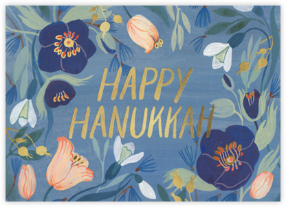 Hanukkah Flowers - Red Cap Cards - Hanukkah cards