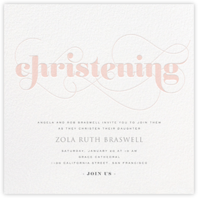 Christening Whirl - Pink - bluepoolroad - bluepoolroad invitations and cards
