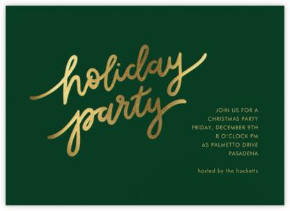Holiday Script - Hunter Green/Gold - Sugar Paper - Holiday invitations