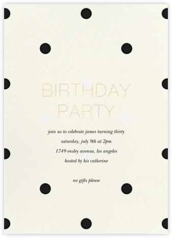 Diadem Dots - Black - Sugar Paper - Adult Birthday Invitations