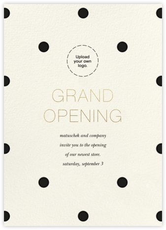 Diadem Dots - Black - Sugar Paper - Launch Party Invitations