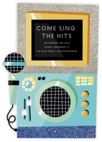 Karaoke Machine - Blue - Paperless Post - Adult Birthday Invitations