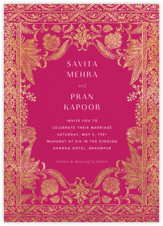 Hotel Udaipur - Dragonfruit - Anthropologie - Indian Wedding Cards