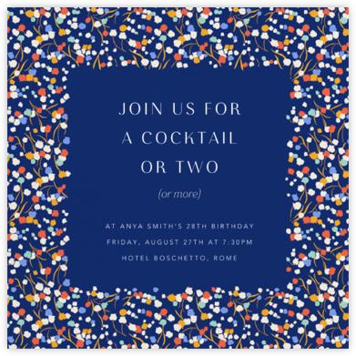 Tender Buttons - Indigo - Anthropologie - Adult Birthday Invitations