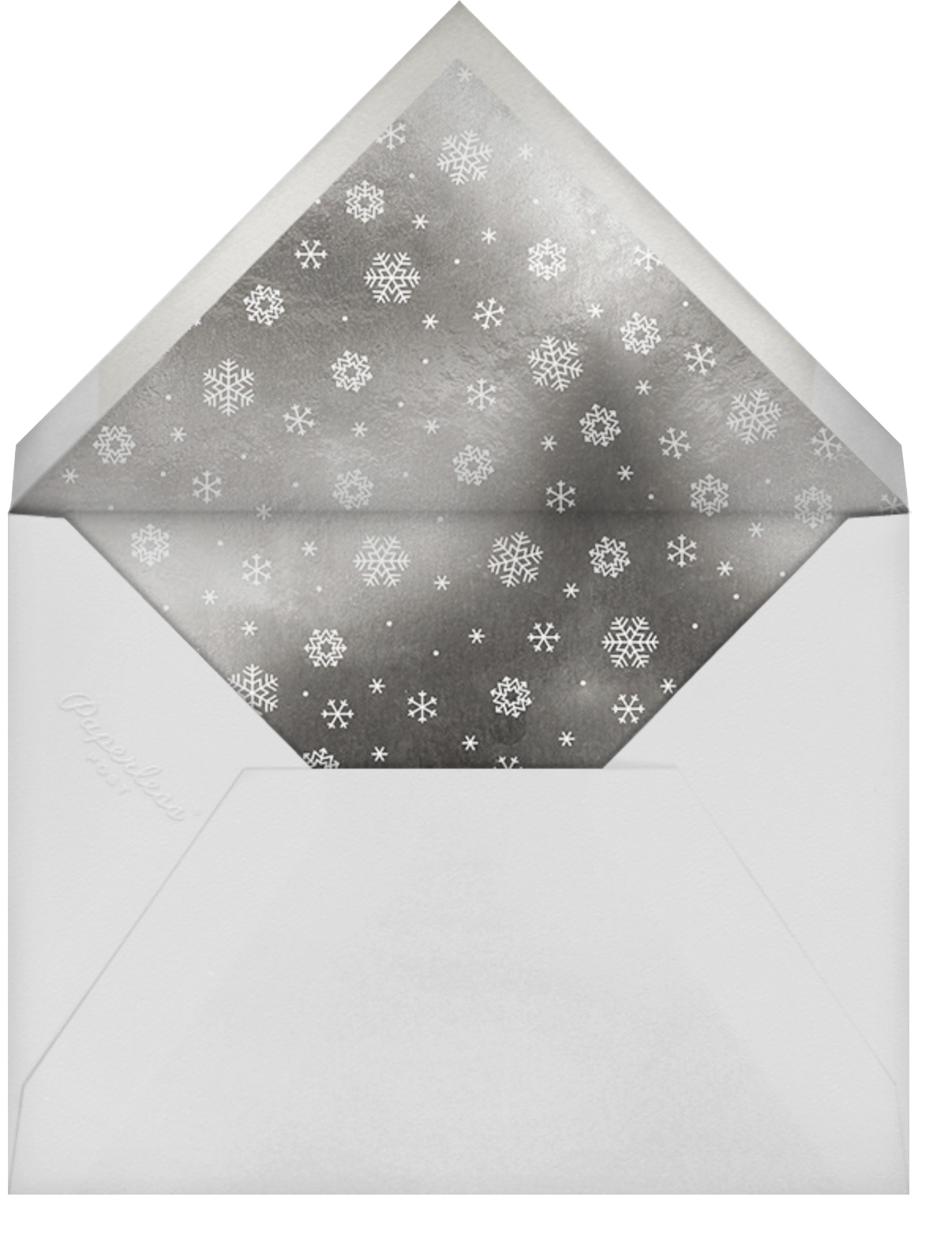 White Out (Tall) - Navy/Silver - Paperless Post - Winter entertaining - envelope back