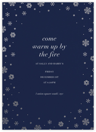 White Out (Tall) - Navy/Silver - Paperless Post - Winter Party Invitations