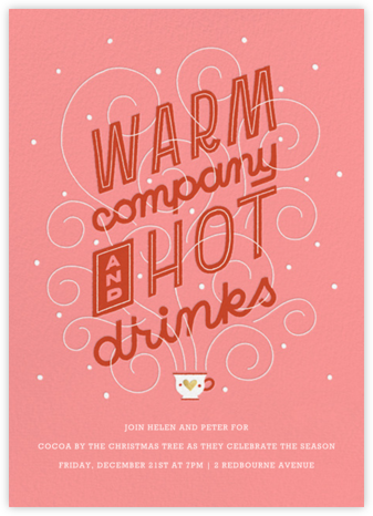 Hot Cuppa Holiday - Blossom - Paperless Post - Holiday invitations