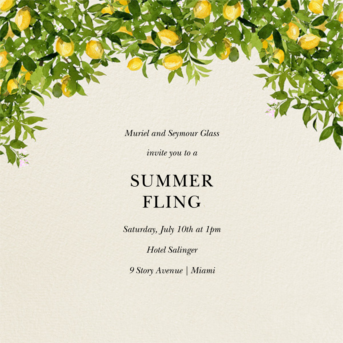 Eureka Bower - Felix Doolittle - Summer entertaining invitations