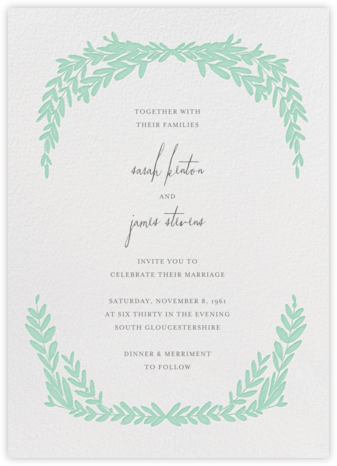 Laurel in Love - Sea Green - Mr. Boddington's Studio - Wedding Invitations