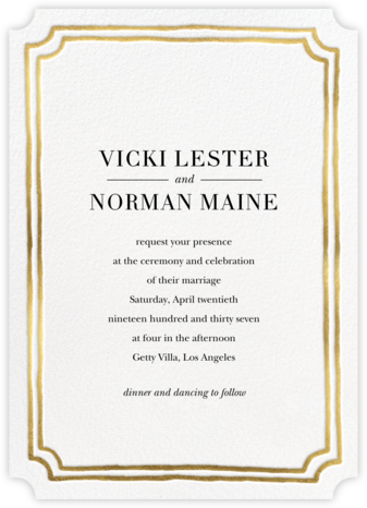 Roosevelt - Gold - Sugar Paper - Wedding Invitations