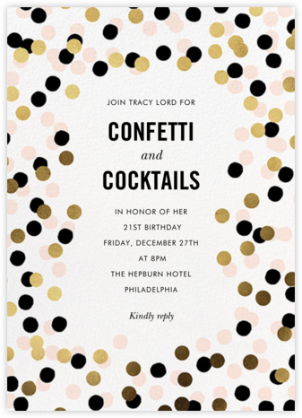 Confetti Shimmer - kate spade new york - Adult birthday invitations