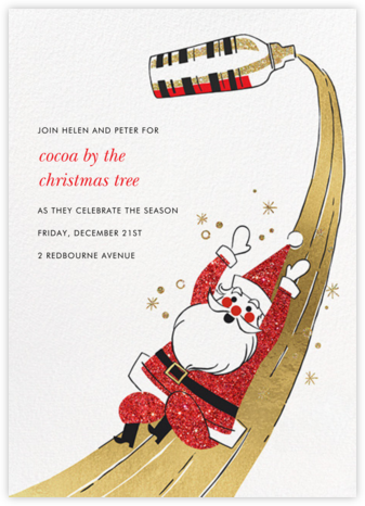 Santa's Slip and Sip - Paperless Post - Holiday Invitations