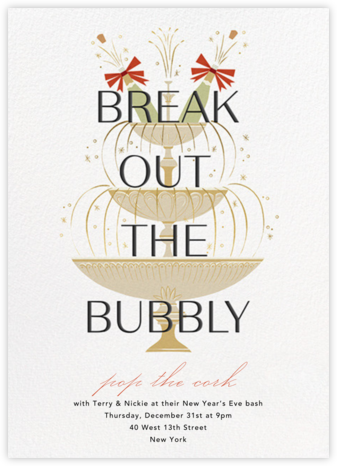 Champers Fountain - Paperless Post - New Year's Eve Invitations