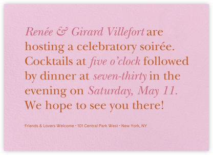 Recitativo - Carnation - Venamour - Summer entertaining invitations