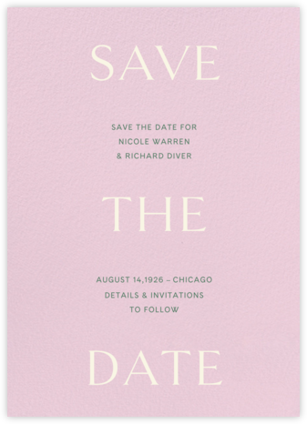 Primo (Save the Date) - Blush - Venamour - Save the dates