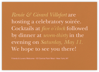Recitativo - Burnt Caramel - Venamour - Dinner party invitations