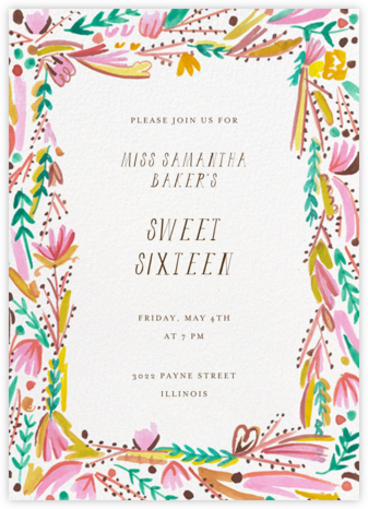 Primrose Path - Mr. Boddington's Studio - Sweet 16 invitations