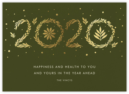 Auld Lang Laurels - Paperless Post - New Year Cards