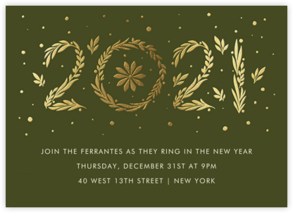 Auld Lang Laurels - Paperless Post - New Year's Eve Invitations