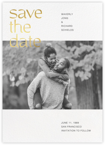 Tilly - White - Paperless Post - Gold and metallic save the dates