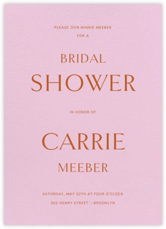Sempre - Carnation - Venamour - Bridal shower invitations