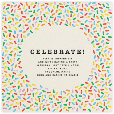 Sprinkles - Celebrate  - The Indigo Bunting - Online Kids' Birthday Invitations