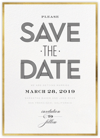Striped Save the Date - bluepoolroad - Save the date cards and templates