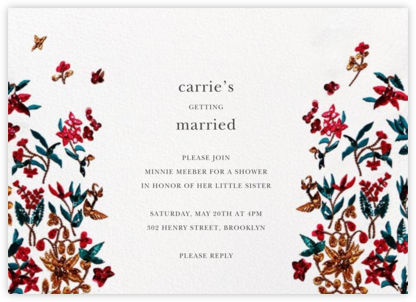 Embossed Floral - Oscar de la Renta - Bridal shower invitations