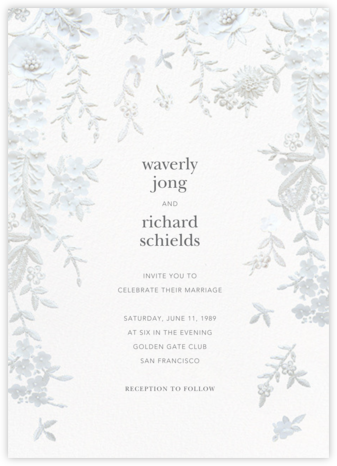 Fleurs d'Alençon (Invitation) - White - Oscar de la Renta - Online Wedding Invitations