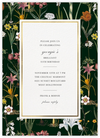 Ars Botanica - Oscar de la Renta - Adult Birthday Invitations