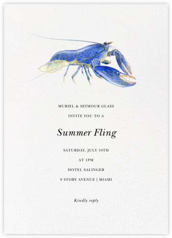 Sapphire Crayfish - Felix Doolittle - Summer Party Invitations