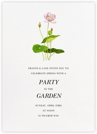 Lotus Blossoming - Felix Doolittle - General Entertaining Invitations