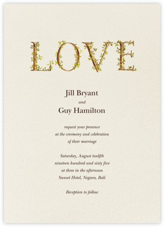 Twining Love (Invitation) - Felix Doolittle - Wedding Invitations