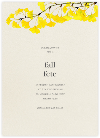 Gingko - Felix Doolittle - Autumn entertaining invitations