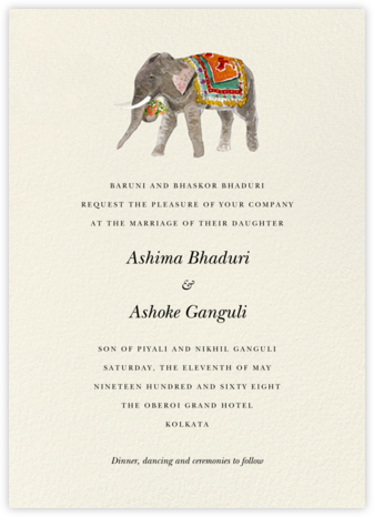 Baarat Elephant (Invitation) - Felix Doolittle - Indian Wedding Cards