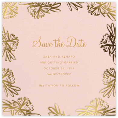 Inked Flowers (Square) - Linda and Harriett - Save the dates
