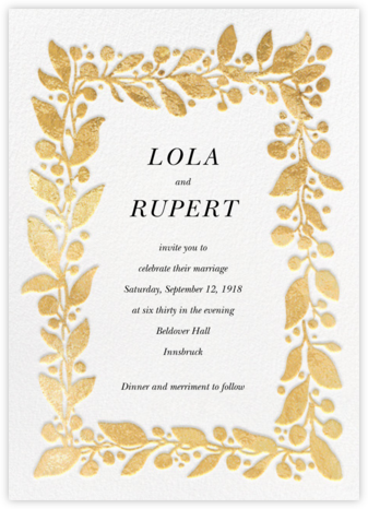 Hedera - Gold - Linda and Harriett - Wedding Invitations
