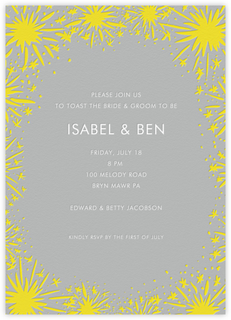 Starburst - Grey - Linda and Harriett - Engagement party invitations