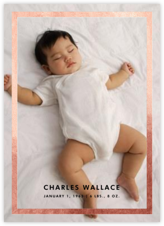 Perfect Portrait - Rose Gold - Paperless Post - Birth Announcements