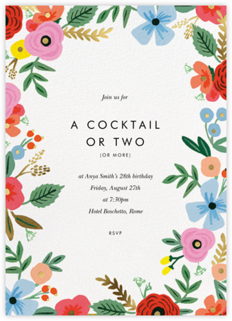 Stitched Bouquet - Rifle Paper Co. - Adult Birthday Invitations